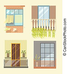 Windows and house balcony different stlyes exterior decor...