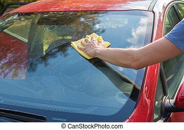 windows, automobile., pulizia, uomo