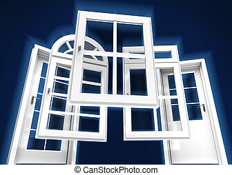 windows, azul, puertas, catálogo