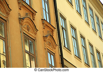 windows background of old building