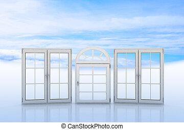 windows, blauer weißer himmel