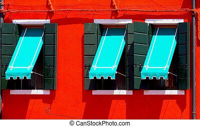 windows, blu, baldacchino, tre