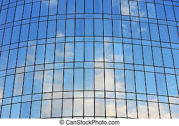 windows, cielo azul, skyscrapep