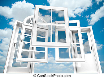 windows, cielo, puertas, catálogo