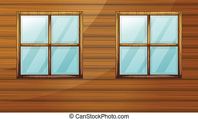Windows - Illustration of windows of a wooden cabin