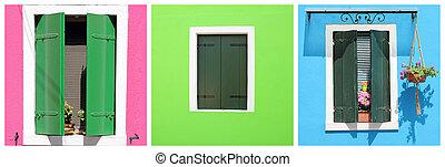 windows, colorido, colección