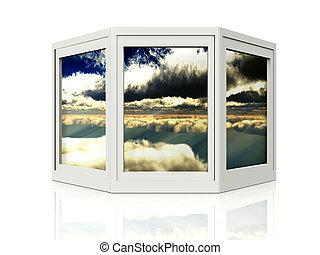windows, con, un, cielo, diseño