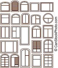 windows, conjunto, aislado, iconos