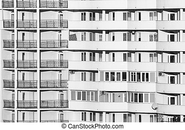 windows, de, edificio, primer plano