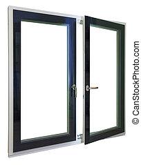 windows, e, cornici, con, vetro, e, accessori