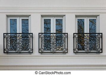 windows, elegante, ottone, railings, triplo