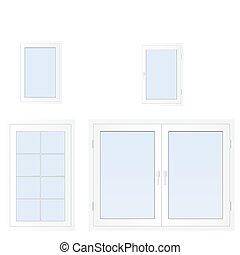 Windows - Illustration of closed modern white plastic...
