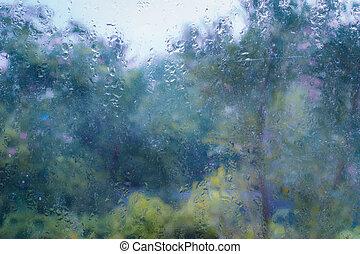 windows, fa, háttér, sárga, nedves