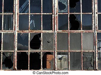 windows, feláll, törött, becsuk, hanyag, épület.