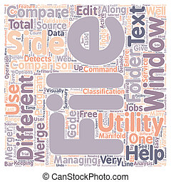 Windows File Compare Utility text background wordcloud...
