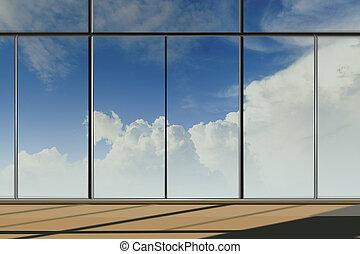 windows, gebäude, modern, buero