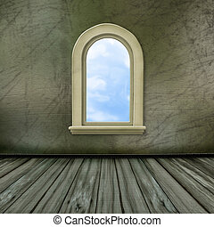 windows, grande, castello, antico, salone