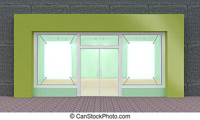 windows, grande, verde, immagazzinare parte anteriore,...
