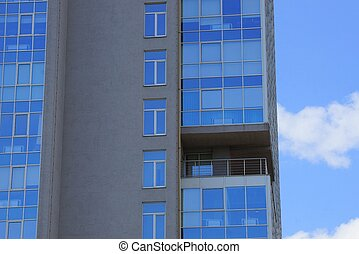 windows, grigio, balconi, casa