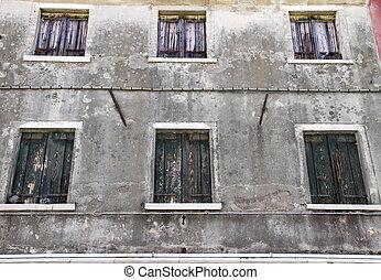 windows, grigio, chiuso, fondo, casa