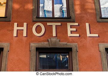 windows, hotel, zeichen, zwischen