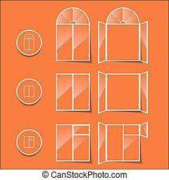 windows, icon isolated on a orange background
