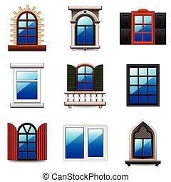 windows, icone, vettore, set