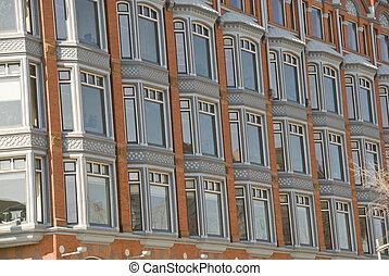 Windows in historic building in Ottawa