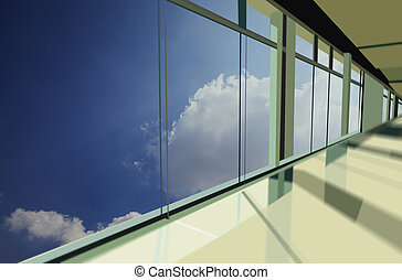 Windows in modern office building