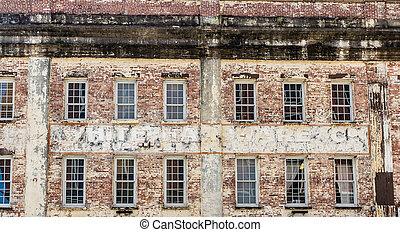 Windows in Old Brick Warehouse