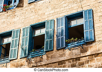 Windows in old building in Israel