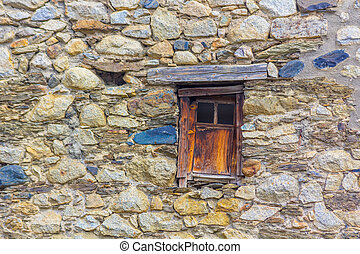 Windows in old stone house