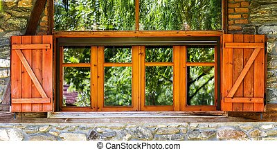 Windows in Old Stone Wall