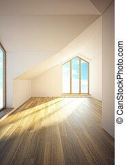 windows, mansarda, stanza, vuoto