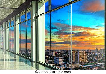 windows, moderno, oficina