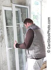 windows, munkás, alatt, lefektetés, szerkesztés, épület