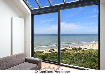 Windows, nagy, tengerpart, Szoba, kilátás