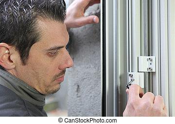 windows, neu , installieren, mann