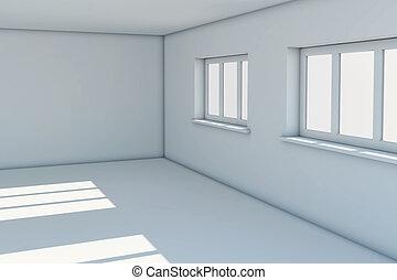 windows, nuovo, stanza, vuoto