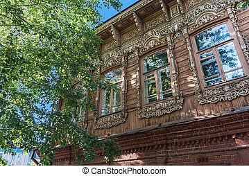 Windows of an old wooden residential building