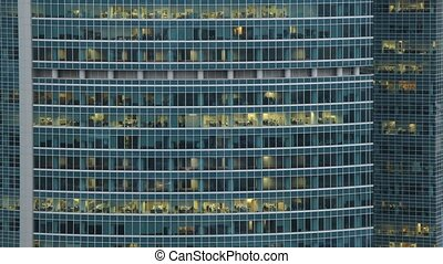 Windows of building office Naberezhnaya Tower in Moscow Business Center in Moscow, Russia.