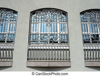 windows of building with grid