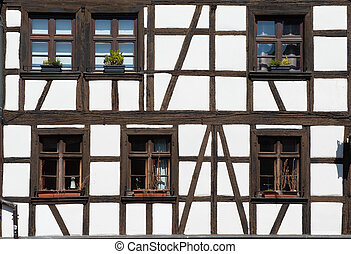 Windows of house in Strasbourg