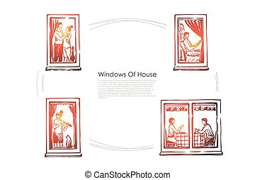Windows of house - people dancing, reading, playing music, eating in windows of their flats vector concept set