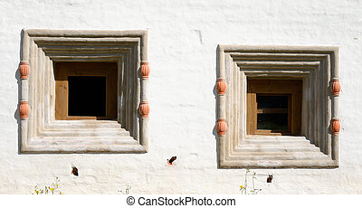 Windows of old building in Kirillo-Belozersky monastery.