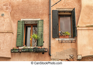 Windows of old house in Venice