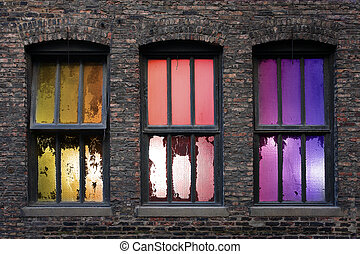 Windows of Opportunity - 3 old weathered windows with...