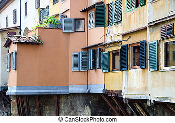 Windows of Ponte Vecchio, Old Bridge in Florence