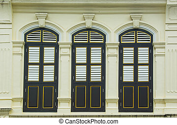 windows on Old Building in Sino Portuguese style