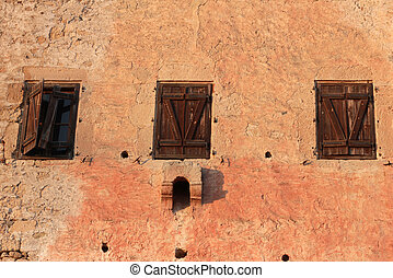 Windows on old building